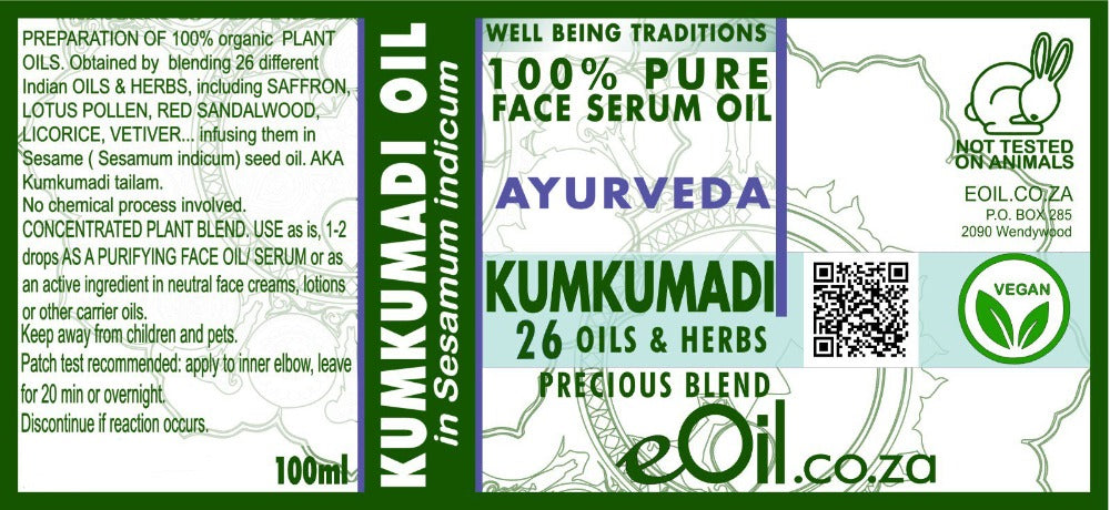 eOil.co.za Kumkumadi Tailam Ayurveda Ayurvedic blended oil 100 ml
