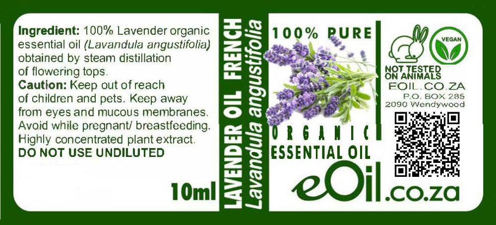 Lavender organic (French) essential oil (Lavendula angustifolia) 10 ml