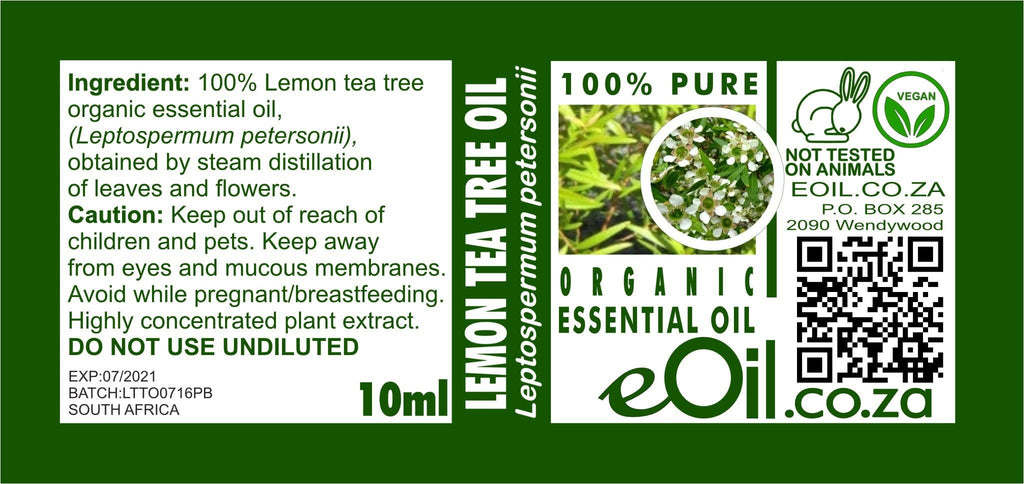 LEMON TEA TREE ORGANIC ESSENTIAL OIL (Leptospermum petersonii) 10 ml - eOil.co.za