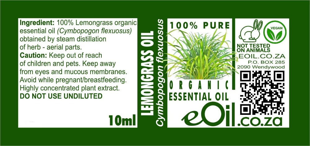 LEMONGRASS ORGANIC ESSENTIAL OIL (Cymbopogon flexuosus) 10 ml - eOil.co.za