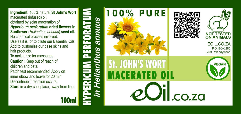 ST JOHN'S WORT MACERATED NATURAL OIL (Hypericum perforatum in Helianthus annuus) 100 ml - eOil.co.za