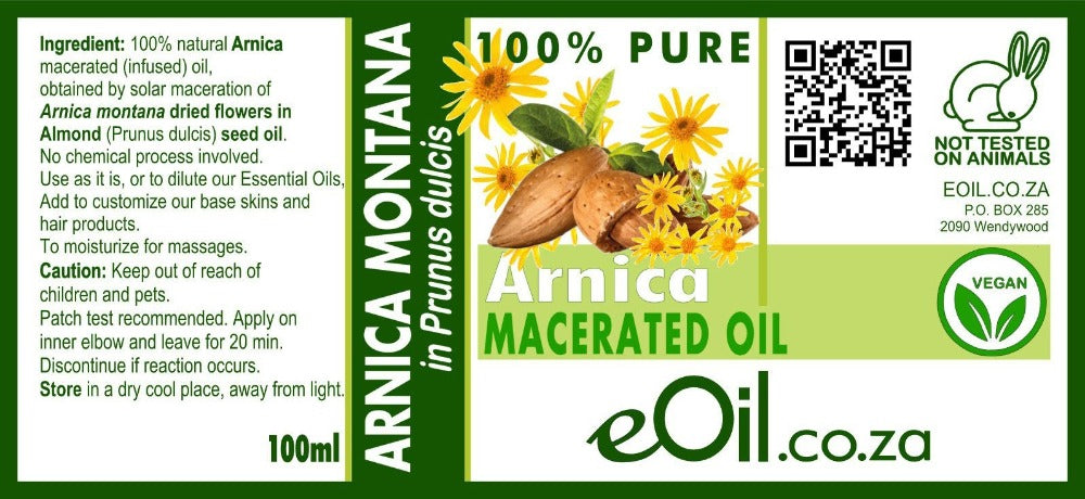 Arnica montana macerated natural oils  (Arnica montana in Prunus dulcis or Helianthus annuus)  100 ml