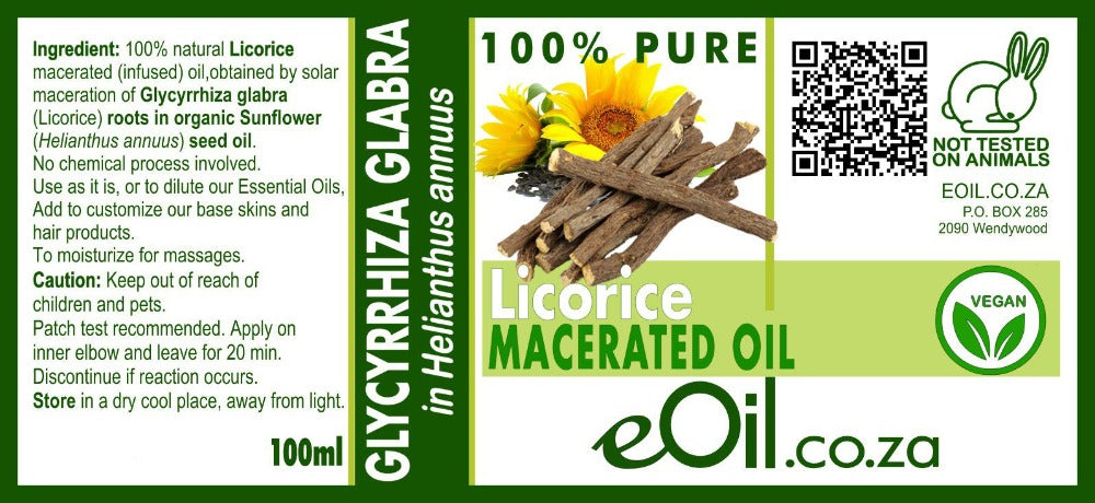 eoil.co.za macerated licorice carrier vegetable oil for dark spots, sunsports, hyperpigmentation, atopic skins, face serum, body oil