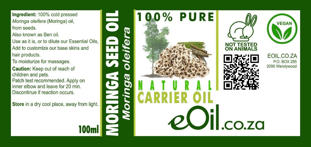 MORINGA SEED NATURAL CARRIER OIL (Moringa oleifera) 100 ml - eOil.co.za