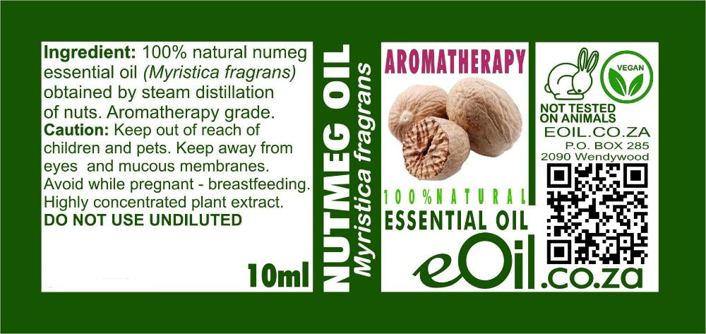 NUTMEG NATURAL ESSENTIAL AROMATHERAPY OIL (Myristica fragrans) 10 ml - eOil.co.za