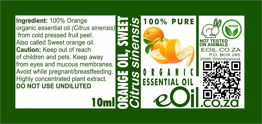 SWEET ORANGE ORGANIC ESSENTIAL OIL (Citrus sinensis) 10 ml - eOil.co.za