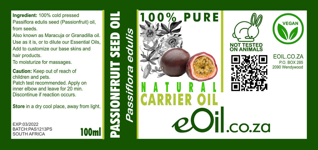 PASSION FRUIT SEED (MARACUJA) NATURAL CARRIER OIL (Passiflora edulis) 100 ml - eOil.co.za