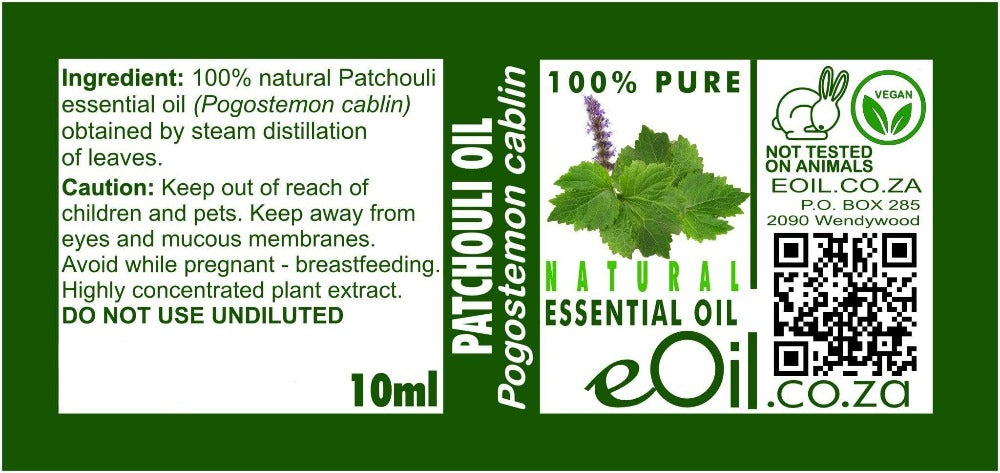 PATCHOULI NATURAL ESSENTIAL OIL (Pogostemon cablin) 10 ml - eOil.co.za