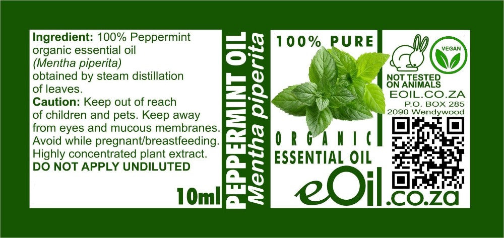 PEPPERMINT ORGANIC ESSENTIAL OIL (Mentha piperita) 10 ml - eOil.co.za
