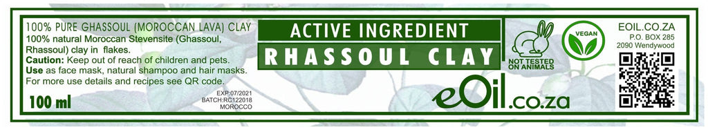 RHASSOUL CLAY (Moroccan lava) ACTIVE INGREDIENT 100 ml - eOil.co.za