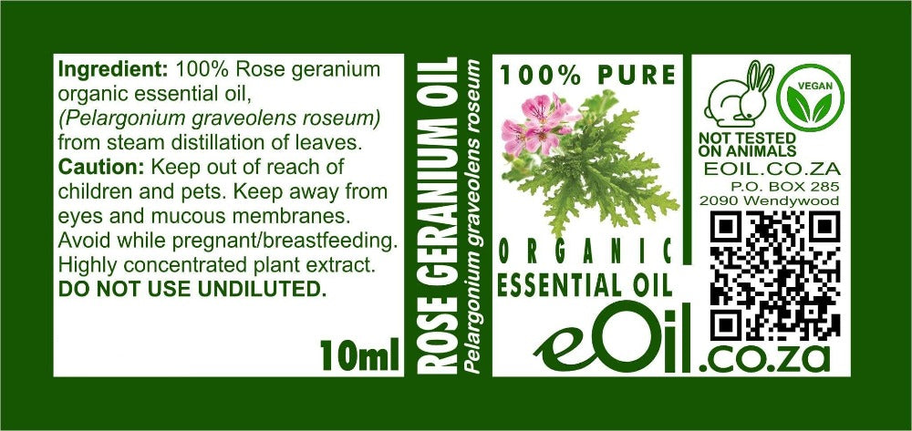 ROSE GERANIUM ORGANIC ESSENTIAL OIL (Pelargonium graveolens roseum) 10 ml - eOil.co.za