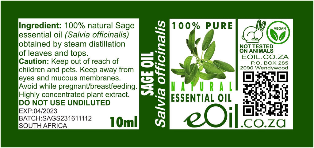 SAGE NATURAL ESSENTIAL OIL (Salvia officinalis) 10 ml - eOil.co.za