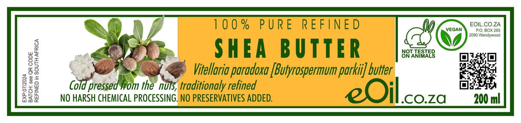 SHEA BUTTER PURE REFINED (Vitellaria paradoxa Butyrospermum parkii) 200 ml - eOil.co.za