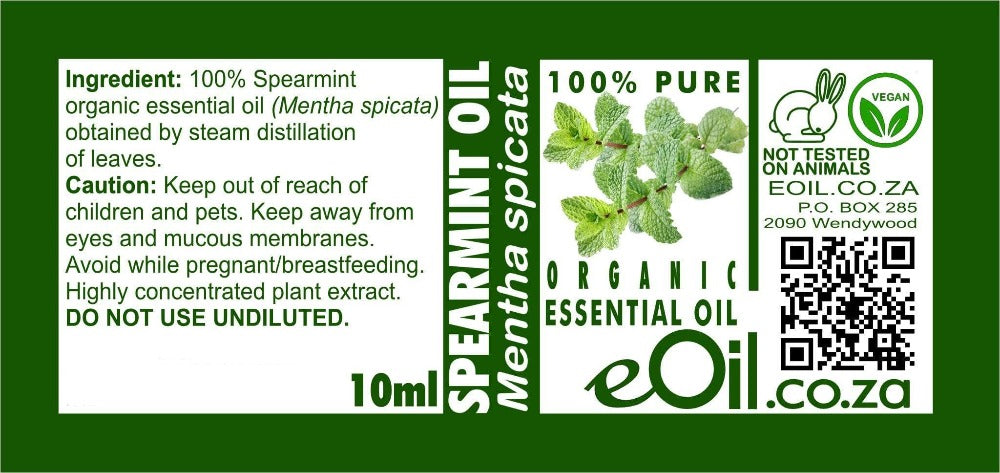 SPEARMINT ORGANIC ESSENTIAL OIL (Mentha spicata) 10 ml - eOil.co.za