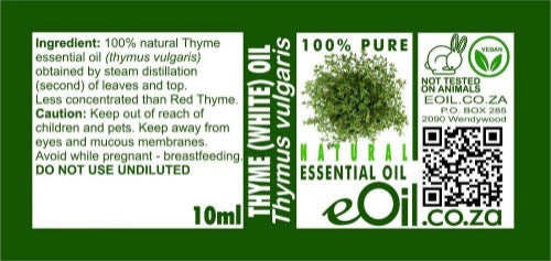 THYME WHITE NATURAL ESSENTIAL OIL (Thymus vulgaris) 10 ml - eOil.co.za