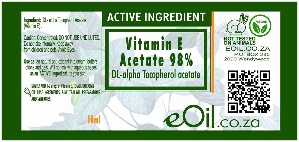 VITAMIN E ACETATE 98 % ACTIVE INGREDIENT (DL alpha Tocopherol acetate) 10 ml - eOil.co.za