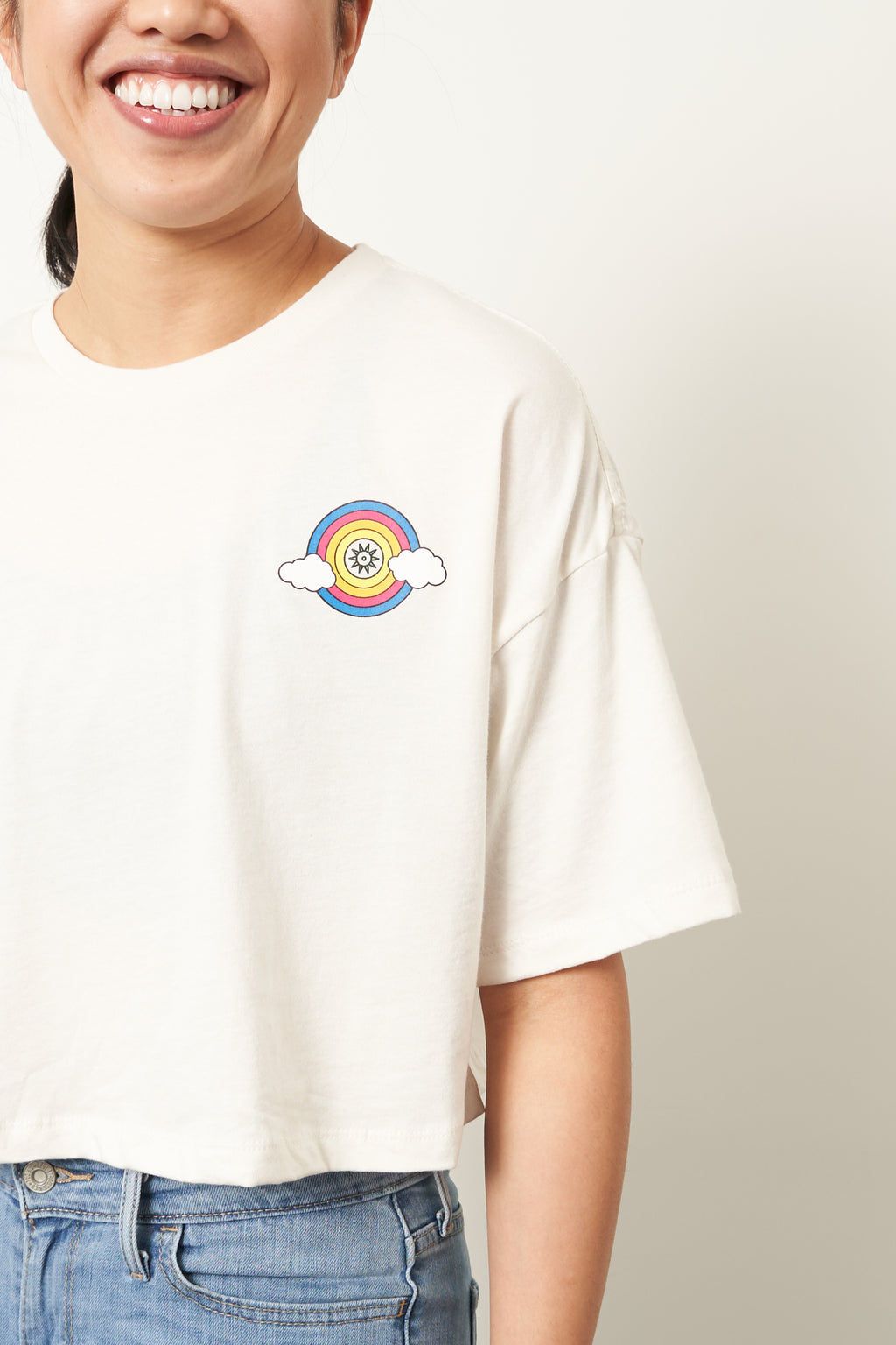 Rainbow b.cycle logo - Women's Flowy Crop Tee