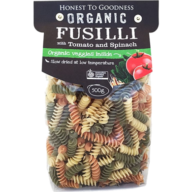 Honest To Goodness Pasta Fusilli Tomato Spinach 500g