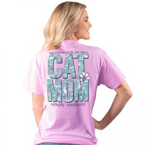 Simply Southern Cat Mom SS Tee Blush