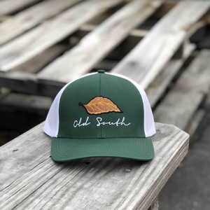 Old South Tobacco Leaf Trucker Forest Green/White