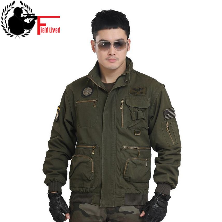 Mens Detachable Sleeve Jacket - vtarmynavy