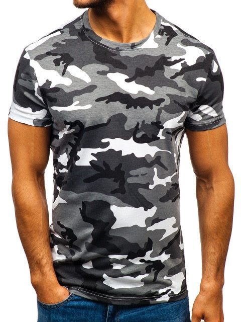 Mens Grey Short Sleeved T-Shirt - vtarmynavy