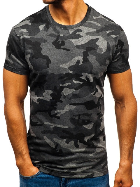 Mens Dark Grey Short Sleeved T-Shirt - vtarmynavy