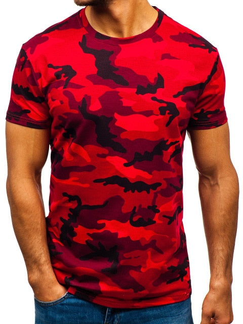 Mens Red Short Sleeved T-Shirt - vtarmynavy