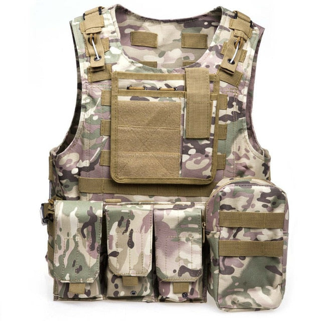 Tactical Green/Brown/Cream Military Vest - vtarmynavy