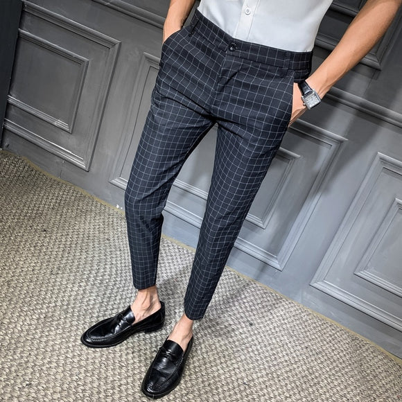 2019 Men Dress Pant Plaid Business Casual Slim