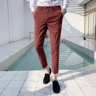 Suit Pants Men Office Trousers for Men Dress Pants Ankle
