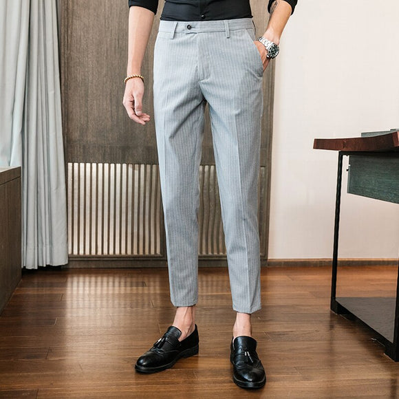 2019 summer Men clothing stripe suit trousers male