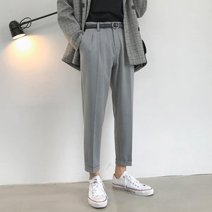 Men's trousers 2019 summer new double pleats nine points