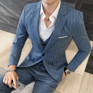 Jackets+Vest+Pants Suits Groom Wedding Dress Stripe