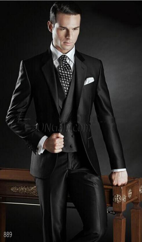 New Arrival Custom Made Groom Tuxedos Shiny Black Best