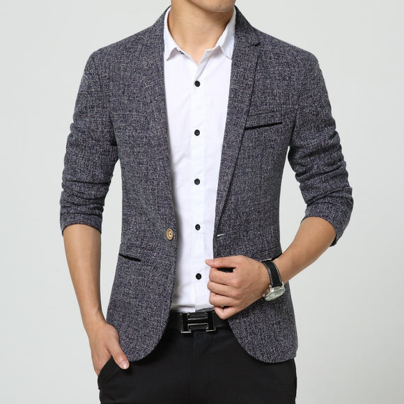 new men singers Fashion dress linen suit jacket brand