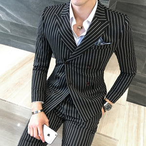 ( Jacket + Vest +Pants) Mens Double-breasted Suit Fashion