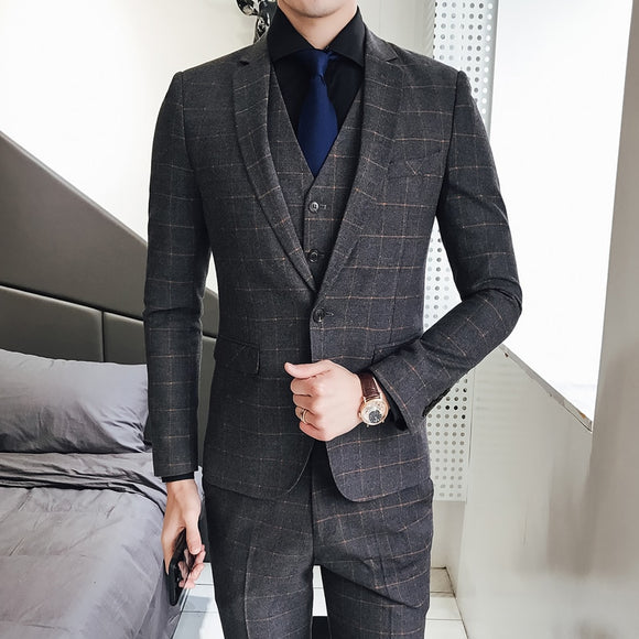 Classic Plaid 3 Pieces Suit Vest Mens Suits With Pants