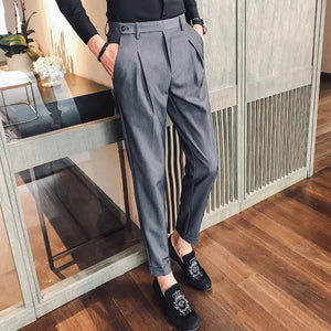 Office Trousers for Men Dress Pants Formal Grey Social