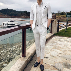 2019 Korean Stripe Slim Fit Mens Suits With Pants 2pcs Suit