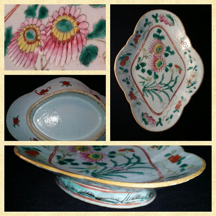 Late Qing Period Footed Plate Chrysanthemum