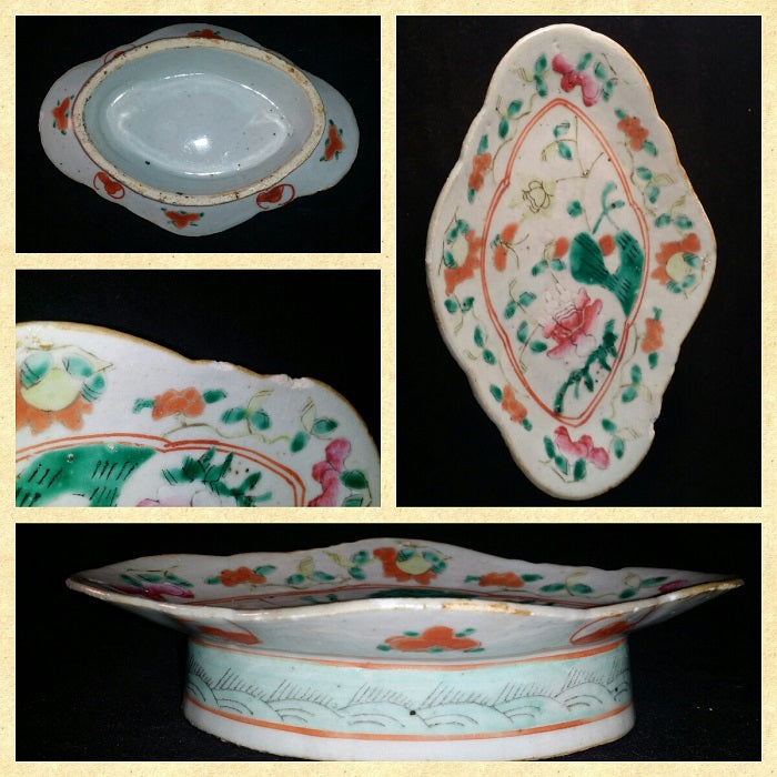 Late Qing Period Footed Plate Roses