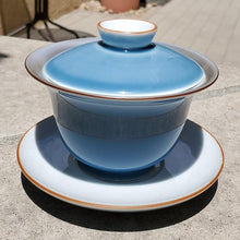 Load image into Gallery viewer, Gaiwan - Pure Silver Lined - Deep Sea Blue 3 pcs - 200 ml