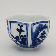 Load image into Gallery viewer, Blue and White Hand Painted Six Panels Teacup