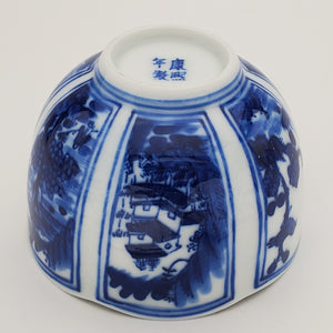 Blue and White Hand Painted Six Panels Teacup