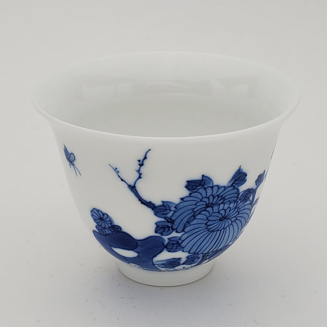 Blue and White Hand Painted Chrysanthemum Teacup