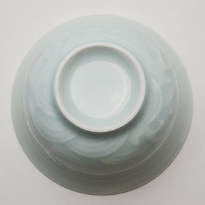 Gaiwan - Celadon Carved Ocean Waves