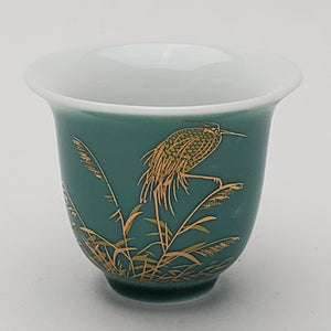 2 Seafoam Green Blue Heron on Reed Porcelain Teacups