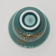 Load image into Gallery viewer, 2 Seafoam Green Blue Heron on Reed Porcelain Teacups