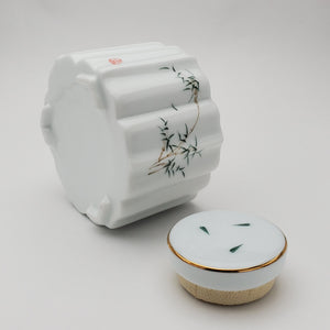 White Porcelain Bamboo Tea Jar  #1